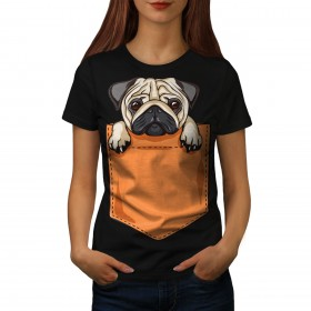 Cute Ladies Pug In Pocket  T Shirt (Available in 5 colours)