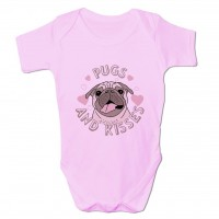 Pugs & Kisses Pink Baby Grow