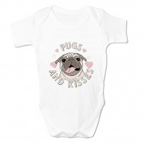 Pugs & Kisses White Baby Grow