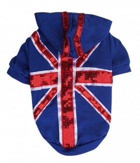 Sequined Union Jack Hoodie By Pet London