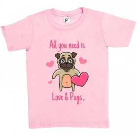 Kid's Cute Pug T Shirt  (Available in 4 colours)