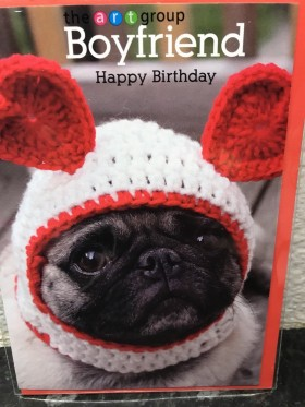 Pug Boyfriend Birthday Card