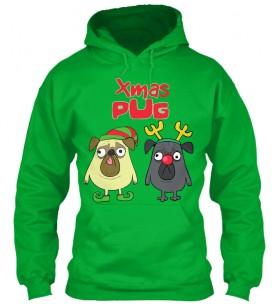 Funny Christmas Pug Hoodie