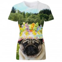 Ladies Easter Pug T Shirt