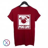 Unisex Graphic Print Pug Life T Shirt (Available in 3 colours)