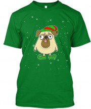 Unisex Green Elf Pug Christmas T Shirt