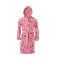 Kids Fleece Pink Pug Dressing Gown With Hood