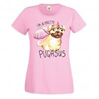Ladies Sweet Pugasus Pink T Shirt