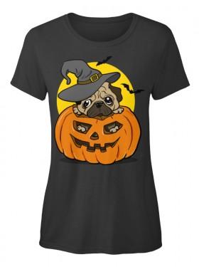 Ladies Halloween Pug T Shirt