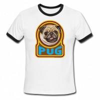 Ladies Retro White Pug T Shirt