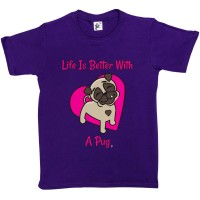 Kid's Pug T Shirt (Available in 4 colours)