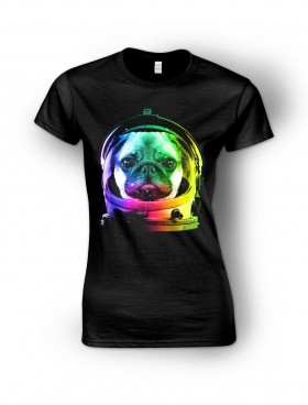 Ladies Space Pug T Shirt