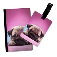 Fawn Pug Puppy Passport Cover & Matching Luggage Tag