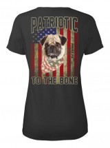 Ladies Patriotic Pug T Shirt (IMAGE BACK OF T SHIRT)