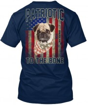 Patriotic Pug Unisex T Shirt (IMAGE ON BACK OF T SHIRT)