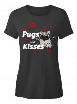 Cute Ladies Pugs & Kisses T Shirt