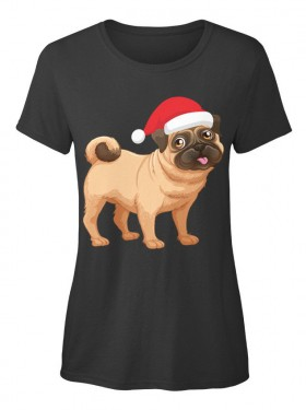 Cute Ladies Santa Pug T Shirt
