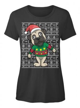 Cute Pug Elf Christmas Ladies T Shirt