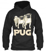 Two Pugs Black Unisex Hoodie