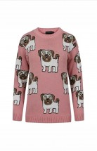 Ladies Pug Print Sweater (Available in 3 colours)