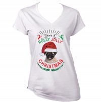 Ladies Jolly Christmas Pug T Shirt