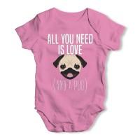 Pink Cute Pug Baby Grow