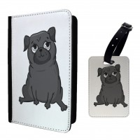 Cute Black Pug  Passport Cover & Matching Luggage Tag