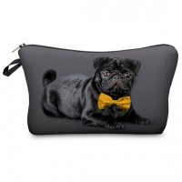 Cute Pug Black Makeup Bag