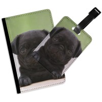 Black Pug Puppy Passport Cover & Matching Luggage Tag