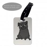 Black Pug Luggage Tag