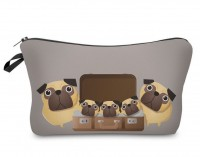 Cute Pug Cartoon Style Makeup Bag