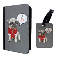 Cool Pug  Passport Cover & Matching Luggage Tag