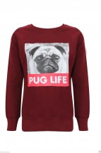 Ladies Pug Life Long Sleeved Sweatshirt