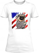 Patriotic Pug Ladies T Shirt