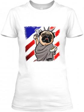 Patriotic Pug Ladies T Shirt