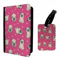 Pink Print Passport Cover & Matching Luggage Tag