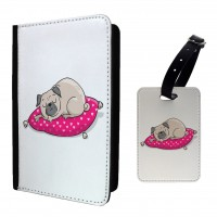 Sleeping Pug Passport Cover & Matching Luggage Tag