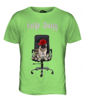 Mens Top Dog Pug T Shirt (Available in 15 colours)