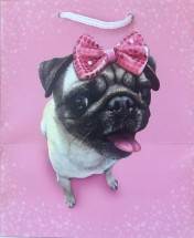 Pink Pug Bow Gift Bag For All Occasions