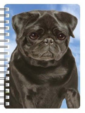 3D Black Pug Notebook