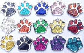 Glittered Reflective Paw Print Charms (Available in 11 colours)