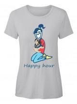 Happy Hour Pug Hugs  Ladies T Shirt