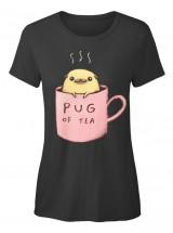 Pug Of Tea Ladies T Shirt