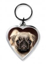 Pug Puppy Heart Keyring