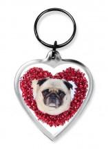 Red Pug Heart Keyring