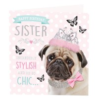 Pug Sister Birthday Card