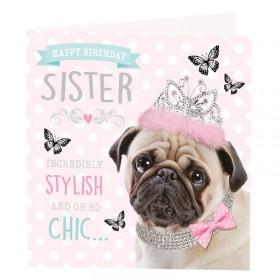Pug Sister Birthday Card