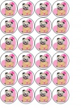24 Cute Pug CupcakeToppers