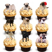 24 Pug Stand Up Cake Toppers