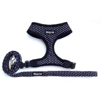 Black Polka Dot  Wagytail Harness & Matching Lead